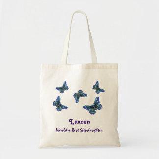 World's Best Stepdaughter Custom Name Butterflies Tote Bag