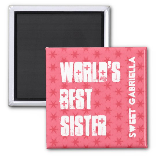 World's Best  SUSTER Custom Name Pink Stars Square Magnet
