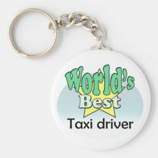 World's best taxi driver basic round button key ring