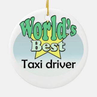 World's best taxi driver round ceramic decoration