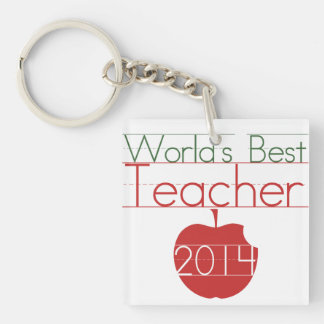 Worlds best Teacher 2014 Double-Sided Square Acrylic Key Ring