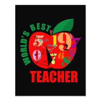 "World's Best Teacher Apple 4.25"" X 5.5"" Invitation Card"
