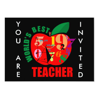 World's Best Teacher Apple Personalized Invitation
