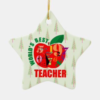 World's Best Teacher Apple | Math Geometry Ceramic Star Decoration