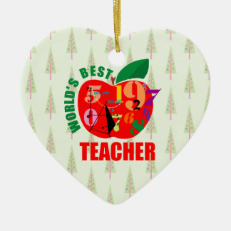 World's Best Teacher Apple | Math Geometry Christmas Ornament