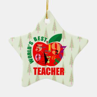 World's Best Teacher Apple | Math Geometry Christmas Ornament