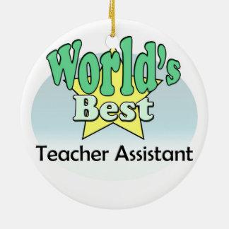 World's best Teacher Assistant Round Ceramic Decoration