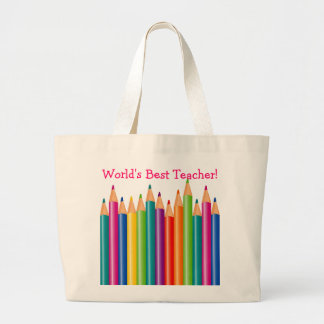 World's Best Teacher Colored Pencils2 Jumbo Tote Bag