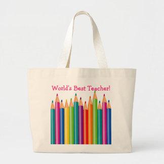 World's Best Teacher Colored Pencils2 Jumbo Tote Bag