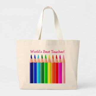World's Best Teacher Coloured Pencils Jumbo Tote Bag