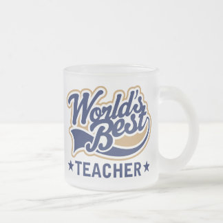 Worlds Best Teacher Frosted Glass Mug