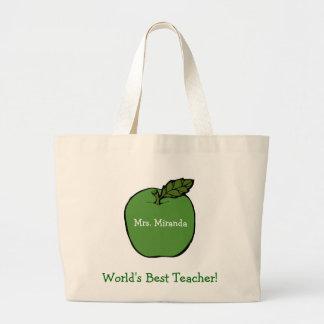 World's Best Teacher (green) Jumbo Tote Bag