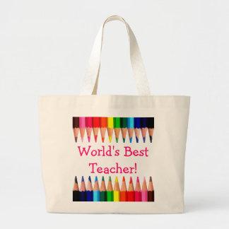 World's Best Teacher Pencil Tips Jumbo Tote Bag