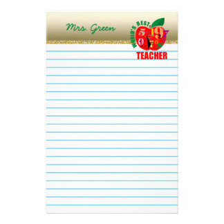 World's Best Teacher | Red Apple Lined Paper