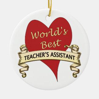 World's Best Teacher's Assistant Round Ceramic Decoration