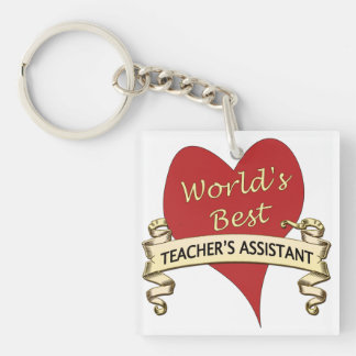 World's Best Teacher's Assistant Single-Sided Square Acrylic Key Ring