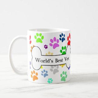 world's best vet Colourful Pet Paws Basic White Mug