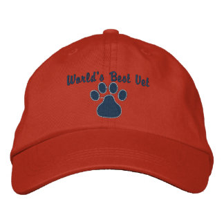 World's Best Vet with Paw Print Embroidered Hats - worlds_best_vet_with_paw_print_embroidered_hat-p233158107505764096446ke_324