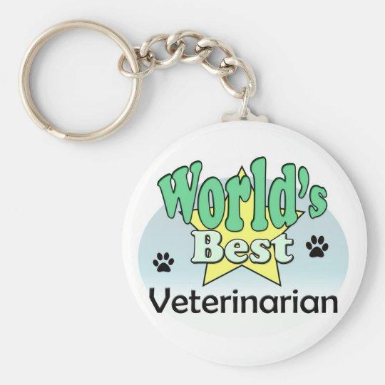 World's best Veterinarian Basic Round Button Key Ring