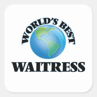 World's Best Waitress Square Sticker