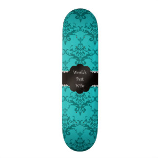 World's best wife turquoise damask skate board deck