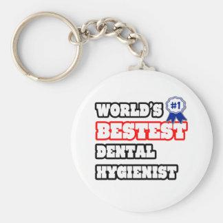World's Bestest Dental Hygienist Basic Round Button Key Ring