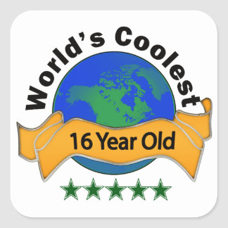 World's Coolest 16 Year Old Square Sticker