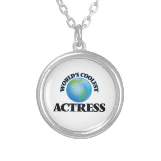 wORLD'S COOLEST aCTRESS Round Pendant Necklace