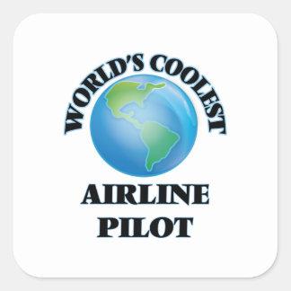 wORLD'S COOLEST aIRLINE pILOT Square Sticker
