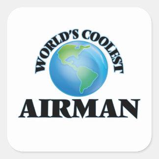 wORLD'S COOLEST aIRMAN Square Sticker