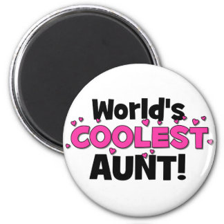 World's Coolest Aunt!  Great gift for Auntie To Be 6 Cm Round Magnet