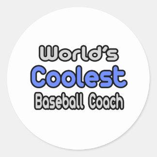World's Coolest Baseball Coach Round Sticker