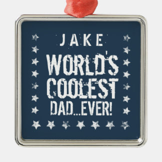 World's Coolest DAD Blue and White Stars J02Z Silver-Colored Square Decoration