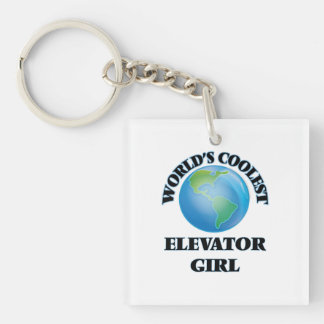 wORLD'S COOLEST eLEVATOR gIRL Square Acrylic Keychains
