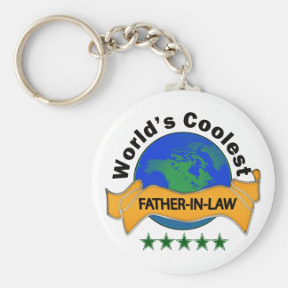 World's Coolest Father-In-Law Basic Round Button Key Ring