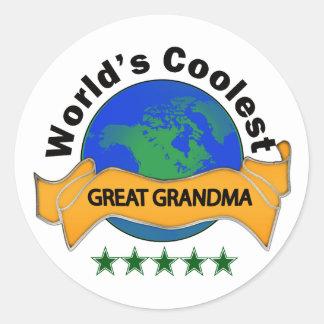 World's Coolest Great Grandma Round Sticker