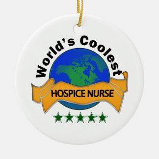 World's Coolest Hospice Nurse Round Ceramic Decoration
