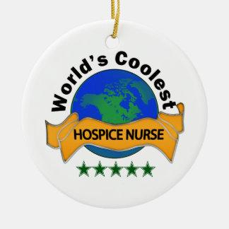 World's Coolest Hospice Nurse Round Ceramic Decoration
