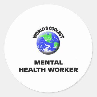 World's Coolest Mental Health Worker Round Stickers