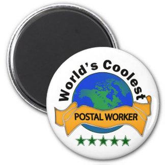 World's Coolest Postal Worker 6 Cm Round Magnet