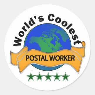 World's Coolest Postal Worker Round Sticker