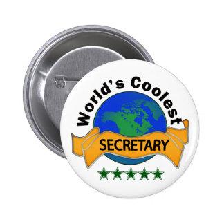 World's Coolest Secretary 6 Cm Round Badge