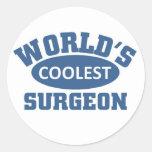 World's coolest Surgeon Round Stickers