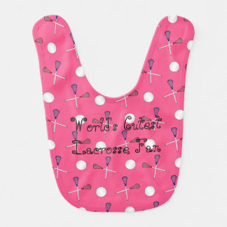 World's cutest lacrosse fan pink lacrosse pattern baby bibs