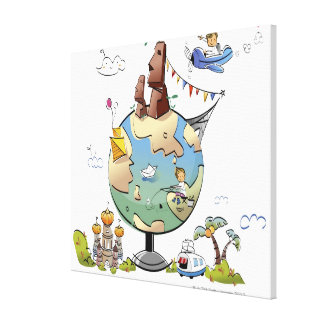 World's famous places around the globe canvas print