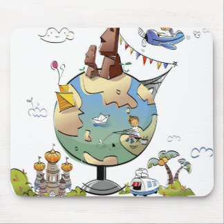 World's famous places around the globe mouse pad