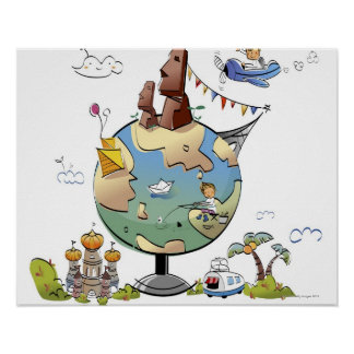 World's famous places around the globe poster