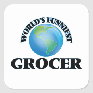 World's Funniest Grocer Square Sticker