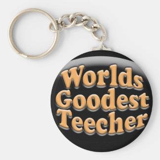 Worlds Goodest Teecher Funny Teacher Gift Basic Round Button Key Ring