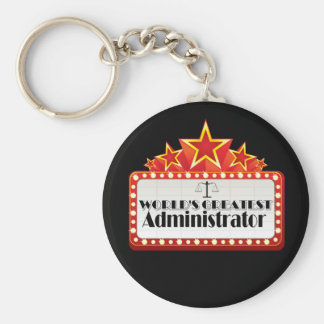 World's Greatest Administrator Basic Round Button Key Ring